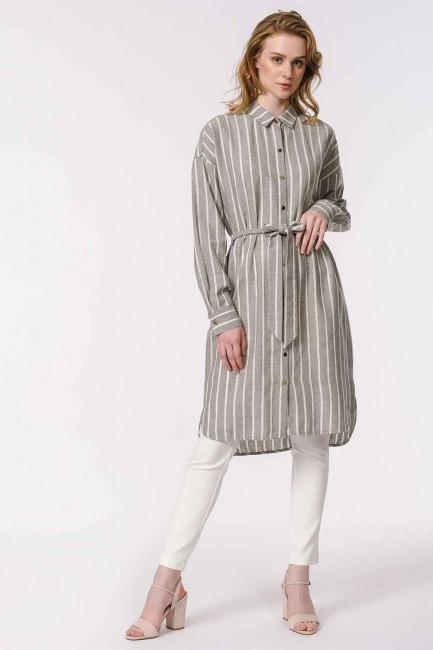 MIZALLE - فستان مخطط من الكتان (غَامِق) (1)