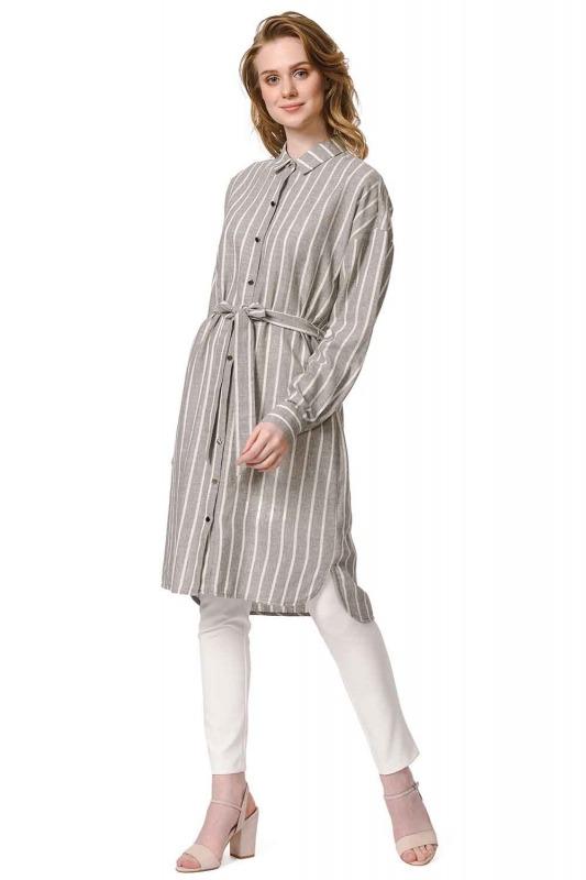 Çizgili Keten Görünümlü Elbise (Antrasit)