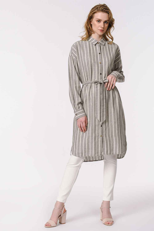 MIZALLE Çizgili Keten Görünümlü Elbise (Antrasit) (1)