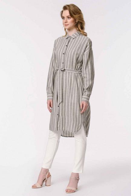 Çizgili Keten Görünümlü Elbise (Antrasit) - Thumbnail