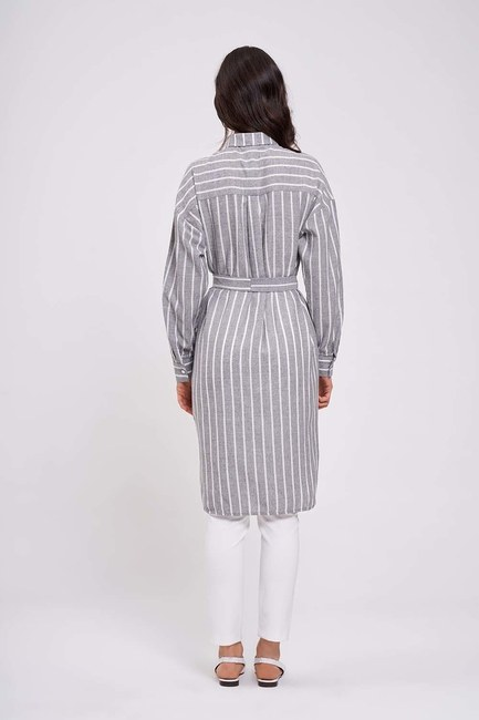 Çizgili Keten Görünümlü Antrasit Elbise - Thumbnail