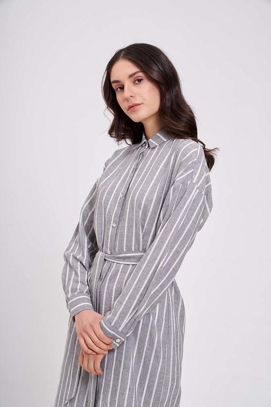 Çizgili Keten Görünümlü Antrasit Elbise