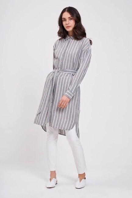 Mizalle - Çizgili Keten Görünümlü Elbise (Antrasit)