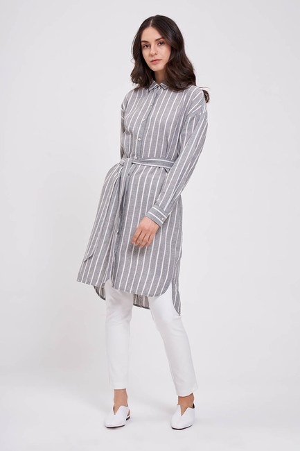 MIZALLE - Çizgili Keten Görünümlü Elbise (Antrasit) (1)