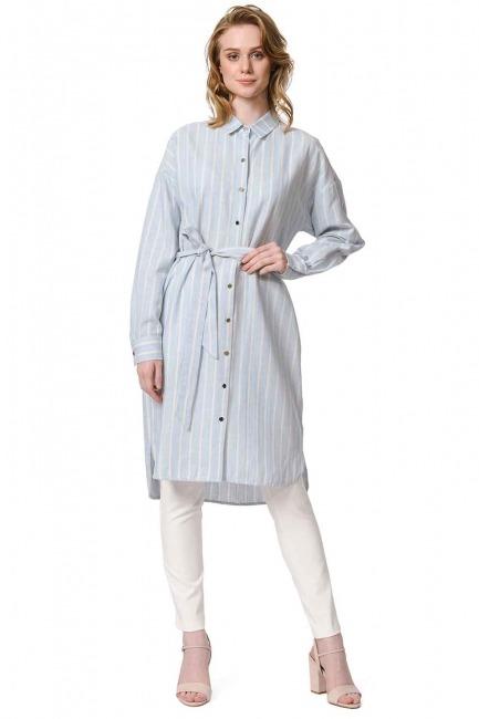 MIZALLE Çizgili Keten Görünümlü Elbise (Mavi)