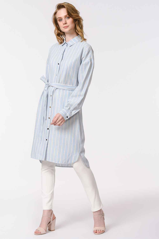 MIZALLE Çizgili Keten Görünümlü Elbise (Mavi) (1)