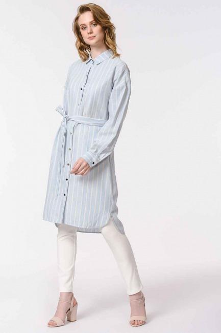 MIZALLE - Çizgili Keten Görünümlü Elbise (Mavi) (1)