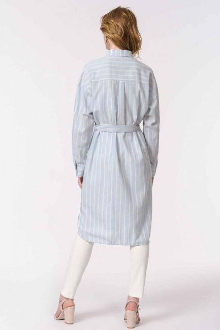 Çizgili Keten Görünümlü Elbise (Mavi) - Thumbnail