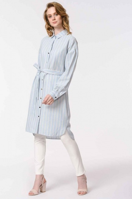 MIZALLE - Striped Linen Look Dress (Blue) (1)