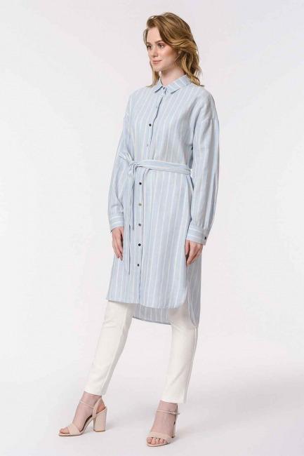 Striped Linen Look Dress (Blue) - Thumbnail