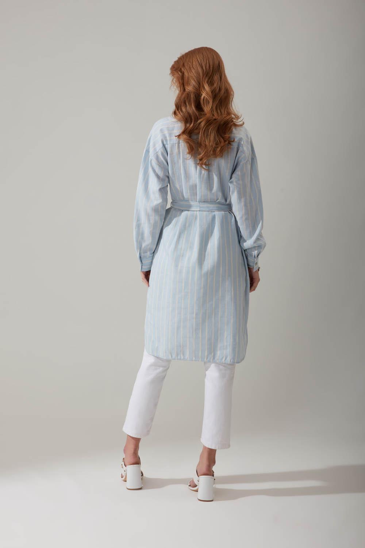 Doğal Kumaş Çizgili Mavi Elbise