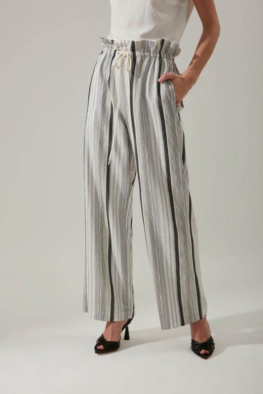 Çizgili Keten Gri Pantolon