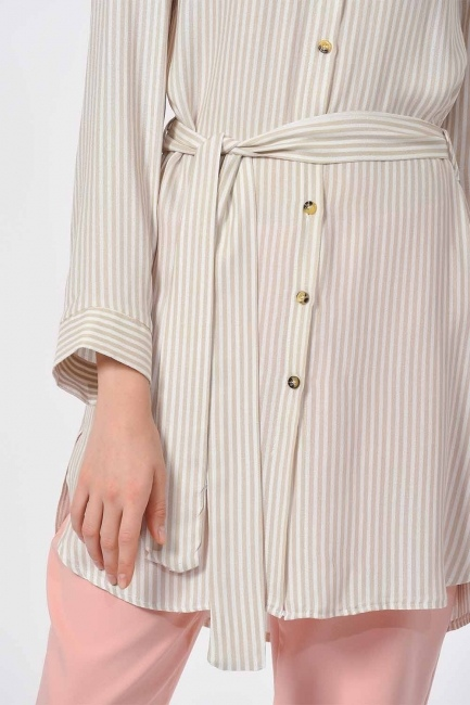 Çizgili Kuşaklı Tunik Gömlek (Bej) - Thumbnail