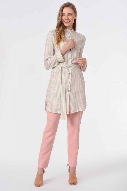 MIZALLE - Çizgili Kuşaklı Tunik Gömlek (Bej) (1)