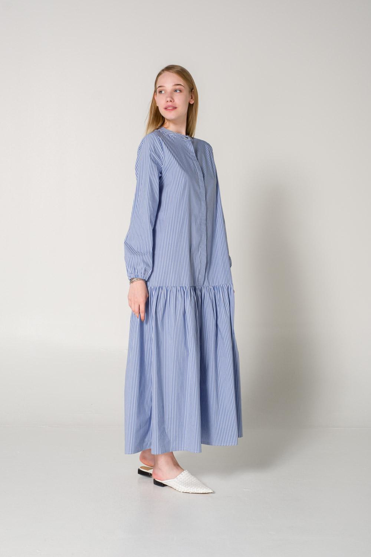 Çizgili Mavi Uzun Elbise