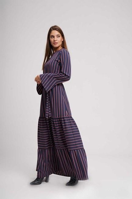 MIZALLE - Çizgili Maxi Elbise (Lacivert) (1)
