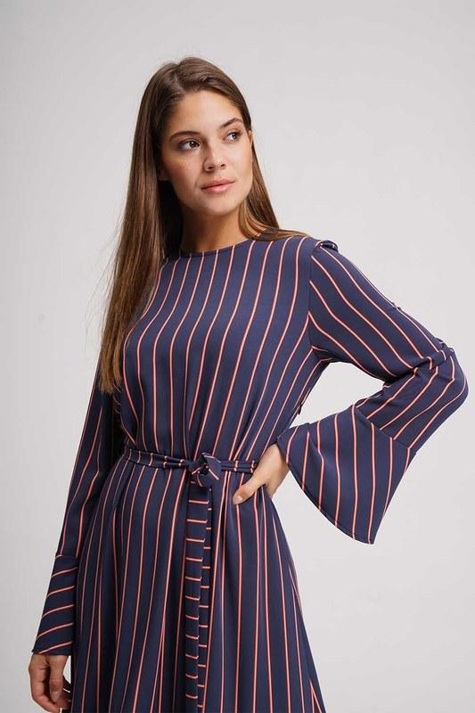 Çizgili Maxi Elbise (Lacivert)