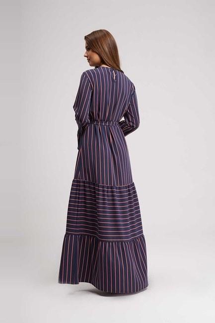 Çizgili Maxi Elbise (Lacivert) - Thumbnail