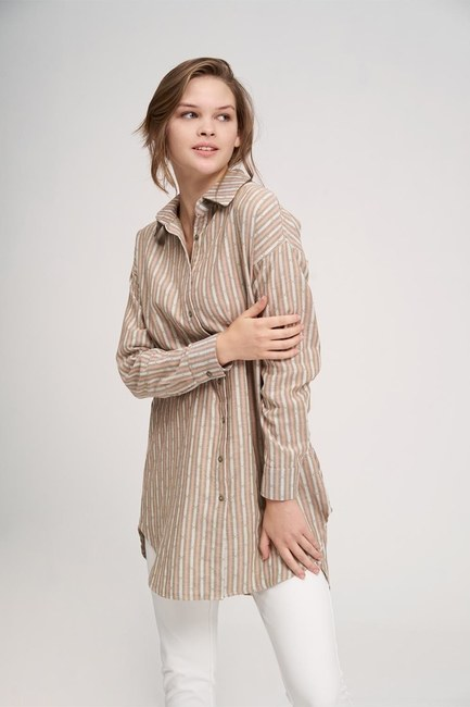 MIZALLE YOUTH - Striped Cotton Tunic Shirt (Beige) (1)