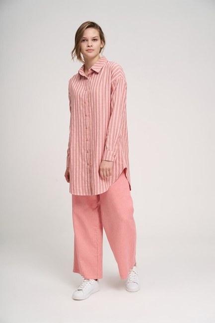 Striped Cotton Tunic Shirt (Rose) - Thumbnail