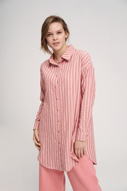 MIZALLE YOUTH - Striped Cotton Tunic Shirt (Rose) (1)