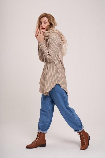 Striped Cotton Tunic Shirt (Khaki) - Thumbnail