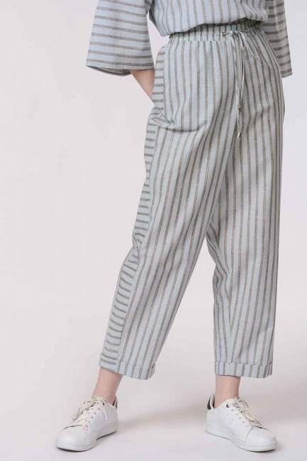 Striped Piece Trousers (Light Blue) - Thumbnail