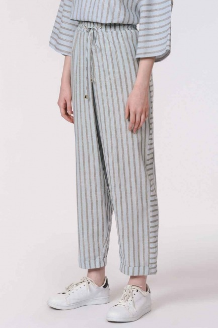 Striped Piece Trousers (Light Blue) - Thumbnail