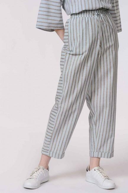 Çizgili Parça Detaylı Pantolon (Açık Mavi) - Thumbnail