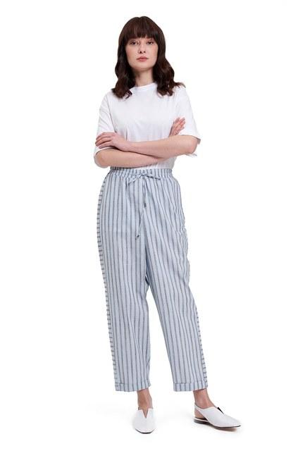Mizalle - Çizgili Parça Detaylı Pantolon (Açık Mavi)