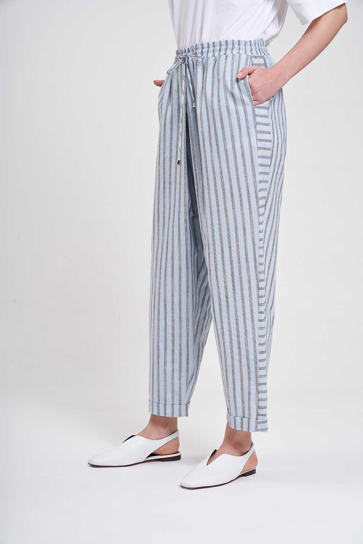 Çizgili Parça Detaylı Pantolon (Açık Mavi)