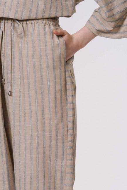 سروال مقلم مع التفاصيل (البيج) - Thumbnail
