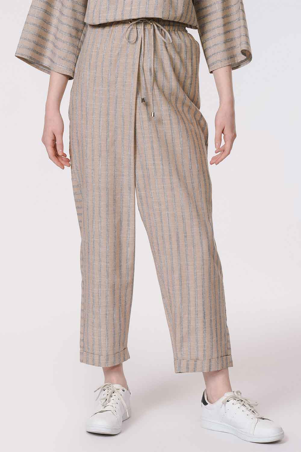 MIZALLE Striped Piece Trousers (Beige) (1)