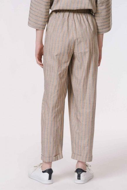 Çizgili Parça Detaylı Pantolon (Bej) - Thumbnail