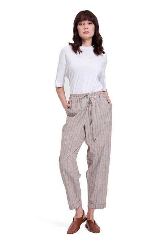 Çizgili Parça Detaylı Pantolon (Bej)