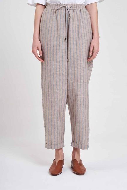 Mizalle - Çizgili Parça Detaylı Pantolon (Bej) (1)