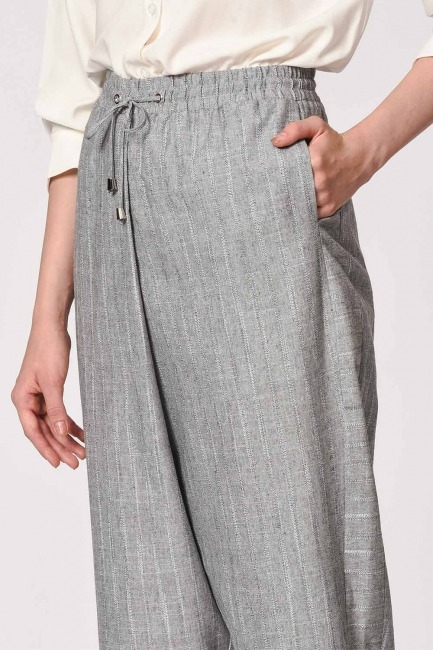 Striped Piece Trousers (Grey) - Thumbnail
