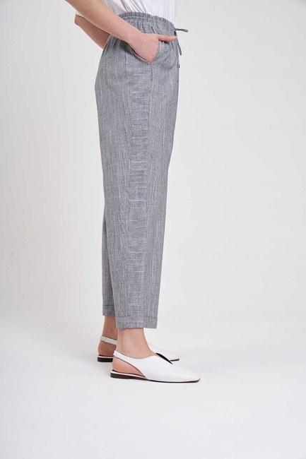 Çizgili Parça Detaylı Pantolon (Gri) - Thumbnail