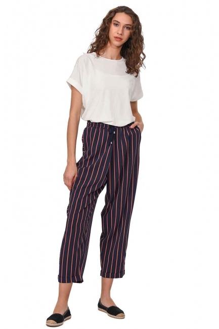 MIZALLE Çizgili Parça Detaylı Pantolon (Lacivert)