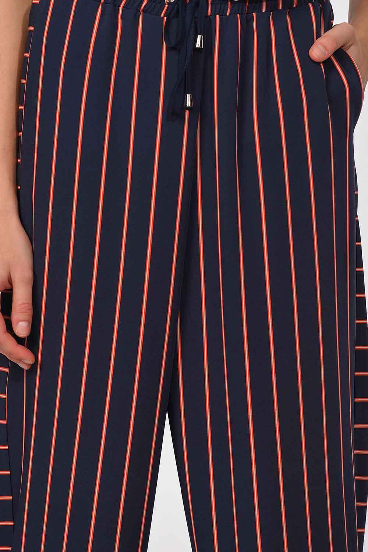 MIZALLE Çizgili Parça Detaylı Pantolon (Lacivert) (1)