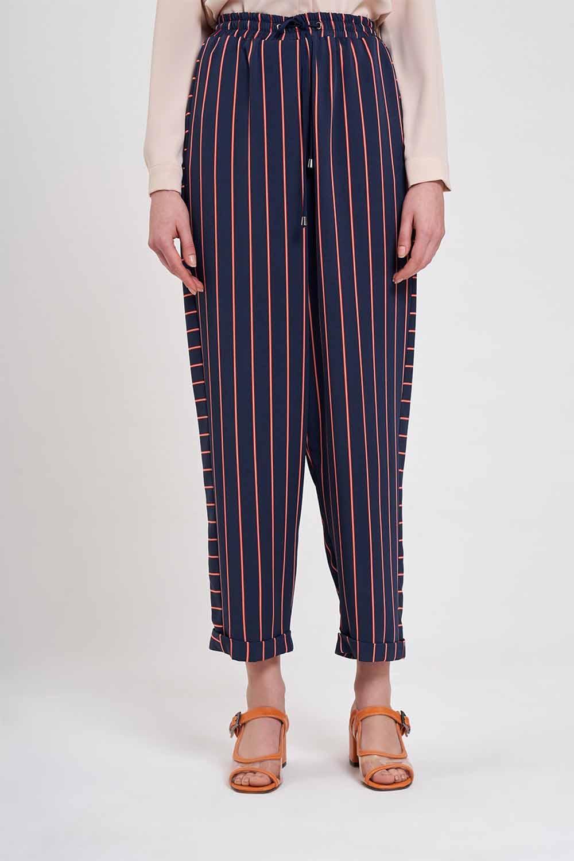 Çizgili Parça Detaylı Pantolon (Lacivert)