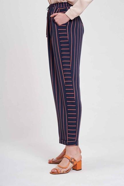 Çizgili Parça Detaylı Pantolon (Lacivert) - Thumbnail