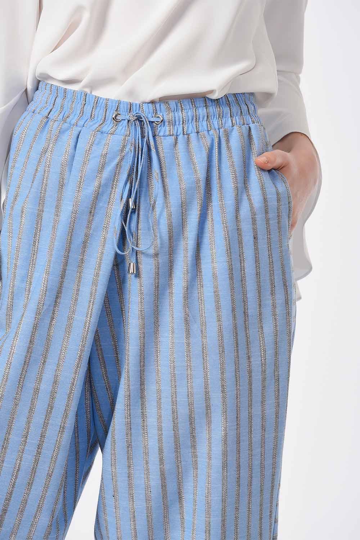 MIZALLE Çizgili Parça Detaylı Pantolon (Mavi) (1)