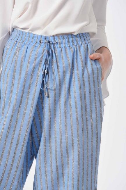 MIZALLE - Çizgili Parça Detaylı Pantolon (Mavi) (1)