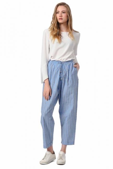 MIZALLE Çizgili Parça Detaylı Pantolon (Mavi)