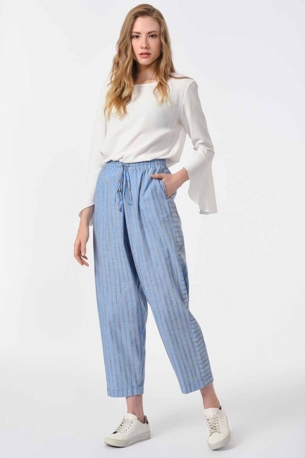 Çizgili Parça Detaylı Pantolon (Mavi) - Thumbnail