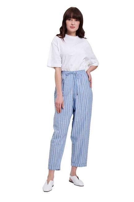 Mizalle - Çizgili Parça Detaylı Pantolon (Mavi)