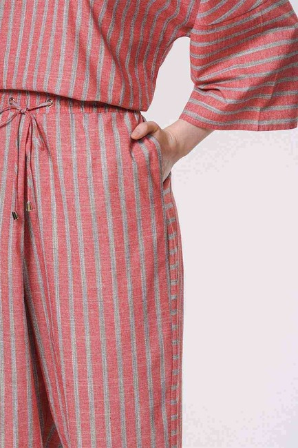 Çizgili Parça Detaylı Pantolon (Nar Çiçeği) - Thumbnail