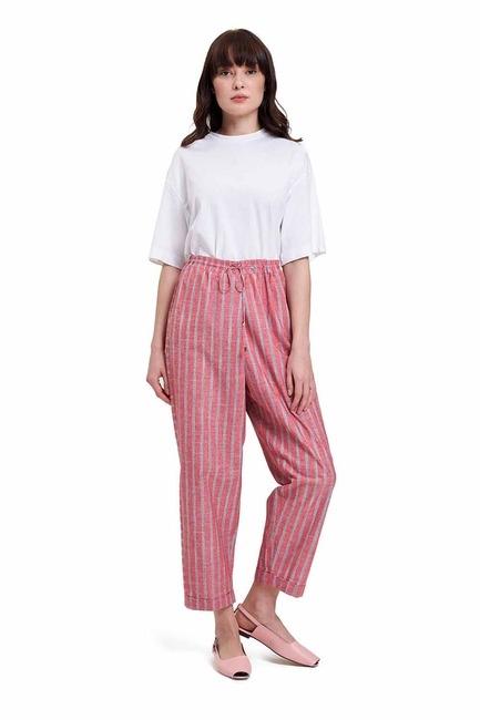 Mizalle - Çizgili Parça Detaylı Pantolon (Nar Çiçeği)