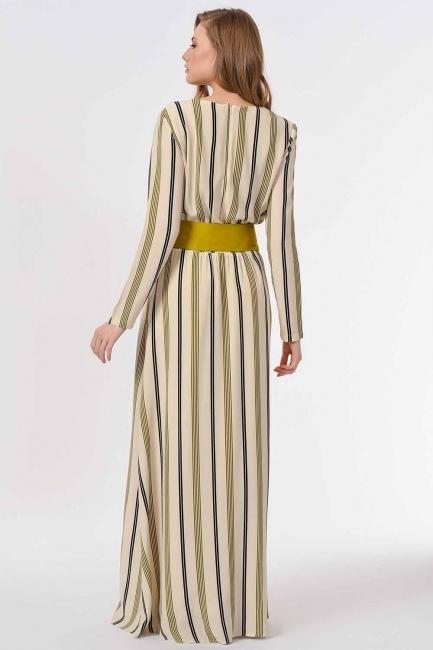 Striped Piece Long Dress (Ecru/Green) - Thumbnail